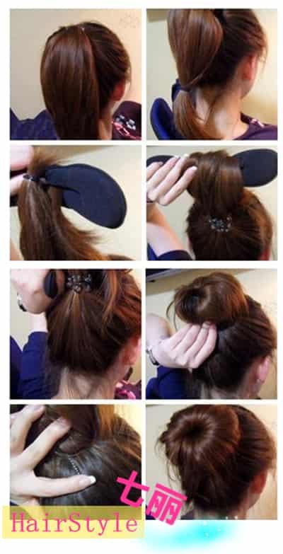 韩式蓬松丸子头的扎法图解 五分钟搞定最in时尚