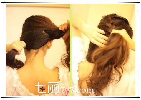 刘海/STEP 1:首先将刘海分出来,将头发上下斜边分层,上层头发分出...