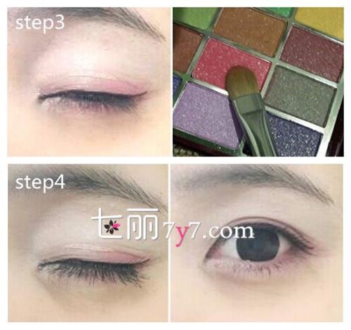美容 彩妆 化妆步骤  step1:先将底妆弄好,蘸取白色的眼影打满,卧蚕的