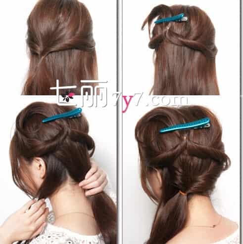 Step2:把固定好的两束头发用橡皮筋侧扎起来,之后用发夹将两束头发向上暂时的固定起来。把后脑剩余的头发分出一小束之后,让其他头发都扎成马尾的样子,再将马尾进行扭转。 Step3:最后再将全部的头发集中在侧边,低扎成一个马尾的样子,接着从头发中抽出发丝,再让头发稍微打理蓬松一些。耳朵上的头也可以稍微弄得,抽出蓬松一些发丝出来,最后再将发饰佩戴上,掩盖在扎发的地方,这样整个发型既显甜美又很有个性哟!