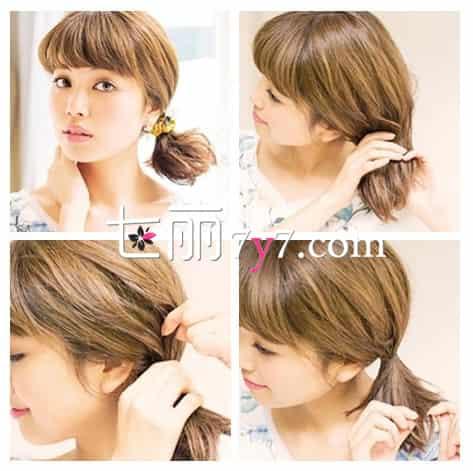 美容 美发 短发  完成小效果图:短发的女生如何扎出可爱的低马尾呢?