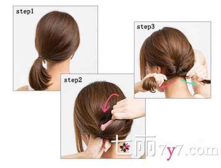 简单韩式低马尾辫发型的扎法 中短发内扣2步搞定