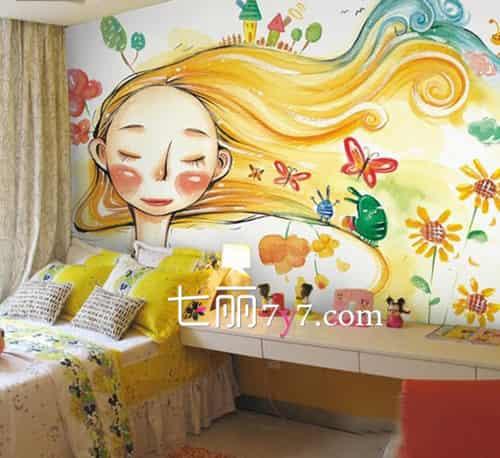 儿童房床头手绘背景墙效果图