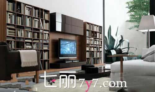 时尚电视背景墙 田园风格电视背景墙 整个电视背景墙由书架与电视柜