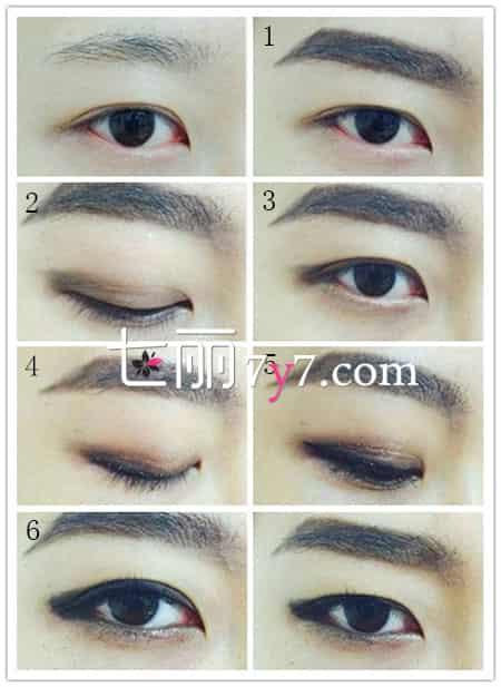 步骤3:用棕色眼影在下眼睑的位置晕染上色,上下眼尾过度自然.