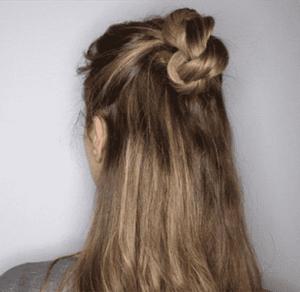 长发半丸子头扎法图解 五个步骤拿走不谢
