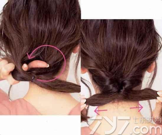 3第三步 直接用加热的直夹板将刘海边的发色烫成烫卷弧度来提升甜美气质。 4第四步 用手将扭转的发束,然后用手拉扯扭转发色上面的头发,使其造型变的更加蓬松饱满。最后再用发卡将发带固定到扭转的马尾上即可。