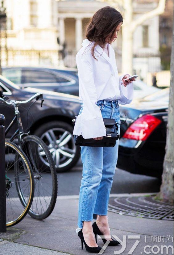 白衬衫配牛仔裤好看吗,白衬衫搭配牛仔裤图片,白衬衫牛仔裤配什么
