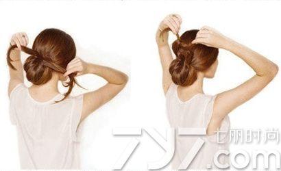 低花苞头的扎法图解,低花苞头扎法,低盘发型步骤图解