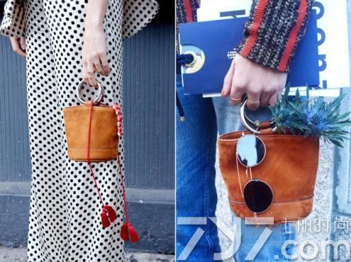 水桶包搭配图片,水桶包街拍