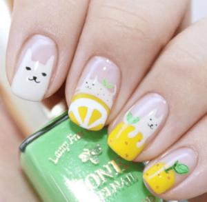 柚子猫咪美甲教程 春天清新柚子美甲