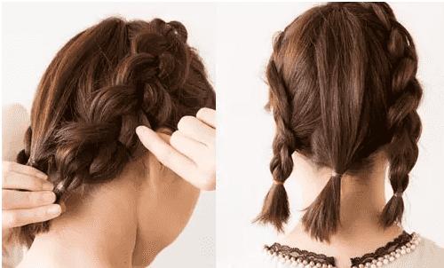 圆脸盘发简单发型步骤 麻花辫盘发就很好看