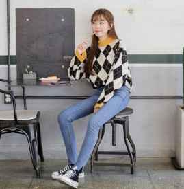 格子毛衣搭配 尽显减龄学院风