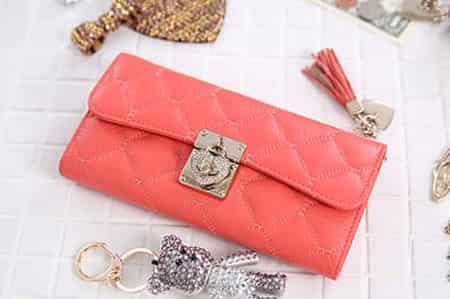 韓國時尚糖果色皮質錢包 個性女士皮包展現俏麗風