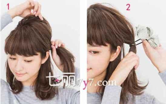 长脸女生适合的扎发发型 及眉刘海公主头发型