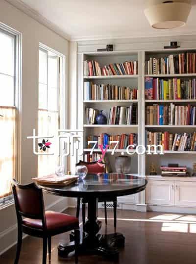 书房设计装修效果图欣赏|书房设计装修效果图 整面墙书柜特别棒