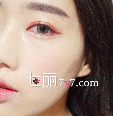 酒红色眼线画法 提升颜值约会妆容