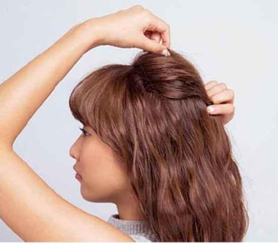 长发半扎发型图片,长发半扎发,半披半扎发型扎法步骤 七丽时尚网