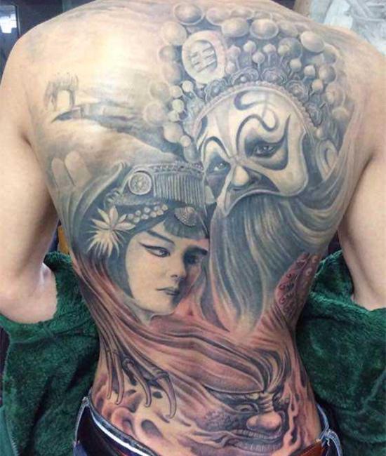 虞姬纹身图片 古典美人勾勒硬汉柔情