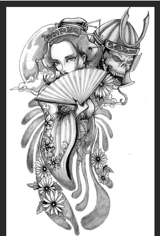 艺妓纹身手稿图,艺妓纹身手稿线条,般若艺妓纹身手稿 第12页图片