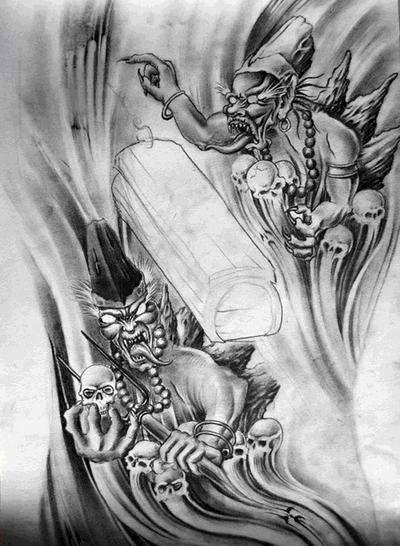 黑白无常纹身手稿,黑白无常纹身图案,黑白无常纹身图案大全 第4页图片
