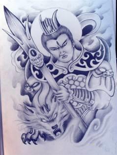二郎神纹身手稿,二郎神纹身图案大全,二郎神纹身满背手稿 第1页图片