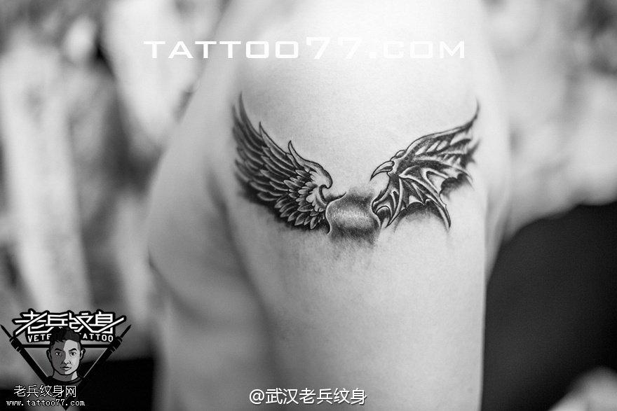 翅膀纹身手稿 魔鬼中的天使 -翅膀纹身手稿,翅膀纹身图案大全图片,图片