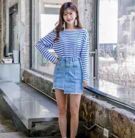 浅蓝色牛仔裙配什么上衣 独具小清新少女风
