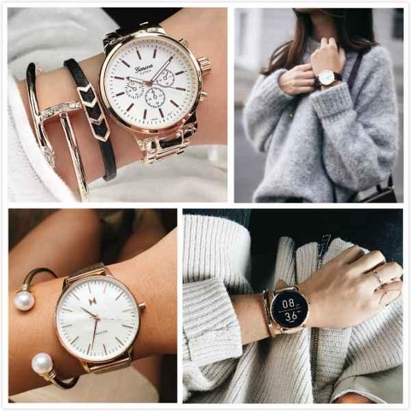 手表搭配手镯 凹足造型感