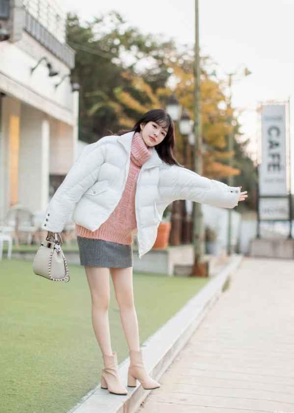 短款棉袄穿着搭配图片