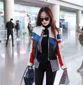 霍思燕現身北京機場 拼色賽車風皮衣大展辣媽風采