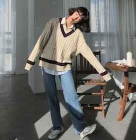 米色毛衣搭配图片 为你打造气质女神范儿