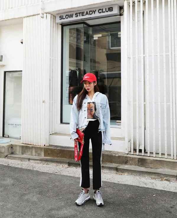 牛仔外套搭配图片女 这样搭配裤子最显瘦