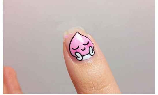 卡通水滴美甲教程 娇羞的小粉红