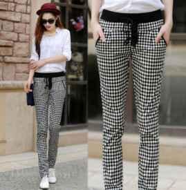 黑白格子裤搭配 和白色单品搭配最佳