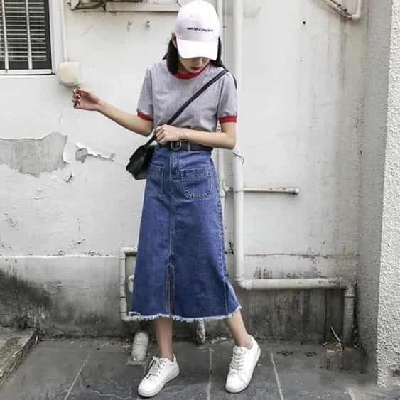 牛仔裙搭配什么 夏天来条牛仔半身裙精致俏皮
