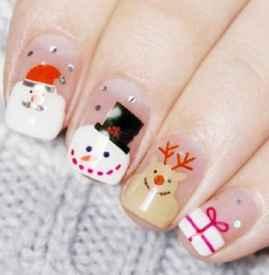 圣诞雪人美甲教程 圣诞装扮指甲也不能少