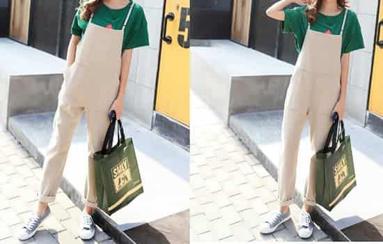 卡其色背带裤怎么穿 充满活力与青春的韩范造型