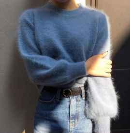 雾霾蓝毛衣搭配 这三套气质搭配了解下