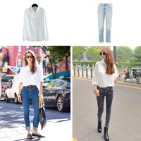 白襯衫怎么搭配 闊腿褲背帶裙高腰